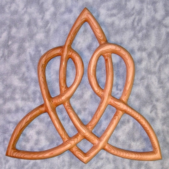Celtic Heart Love Knot Triquetra of Everlasting Love Wood Carved