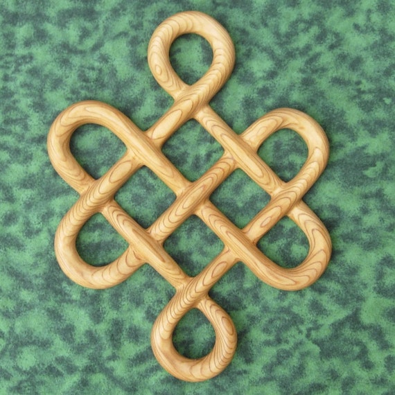 Knot of Longevity - Long Life - Traditional Celtic Knotwork Wood Carving