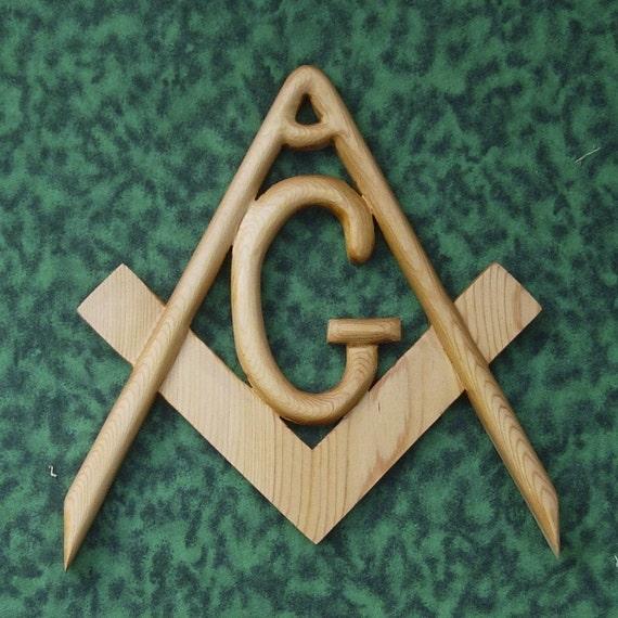 Masonic Symbol-Freemasonry-Wood Carved Compass and Square
