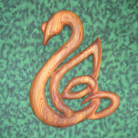 Celtic Swan - Knot of Love, Fidelity and Partnership Wood Carving