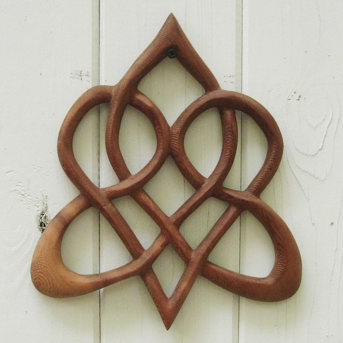 Stylized Celtic Heart-Wood Carved Knot of Everlasting Love