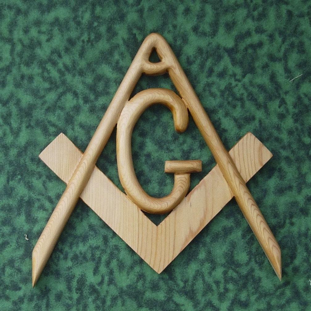 Masonic symbol freemasonry wood carved compass and square