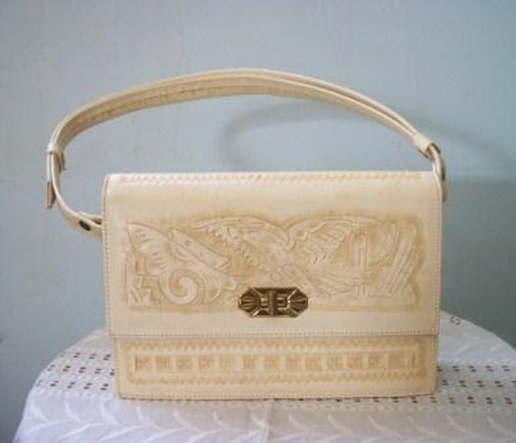 An Amazing Vintage Hand Tooled Mexican Cream Colored Leather Purse