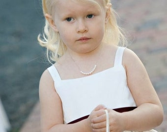 Child's Pearl Necklace, Real Fresh Water Pearls, Hand Knotted on Silk Cording, Flower Girl Necklace, Junior Bridesmaids