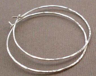 """Medium Sterling Silver Hoop Earrings, 1.5"""" Silver Hoops, Sterling Silver Hoops, Hammered Silver Hoops"""