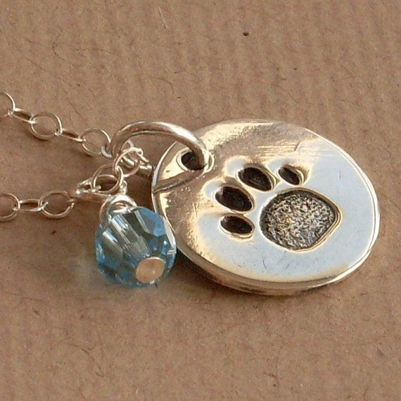 Paw Print Necklace, Sterling Silver Paw Print, Hand Stamped Disc, Birthstone Crystals, Pet Lovers Mommy Necklace, Dog Lovers, Cat Lovers
