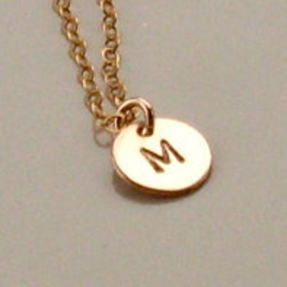 Tiny Gold Filled Disc Necklace, Hand Stamped Initial Necklace, Gold Initial Disc Necklace, Personalized, Delicate Gold Charm Necklace