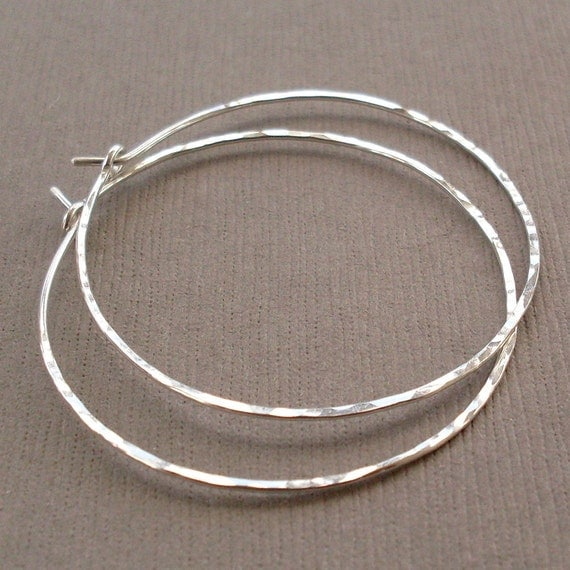 "Medium Sterling Silver Hoop Earrings, 1.5"" Silver Hoops, Sterling Silver Hoops, Hammered Silver Hoops"