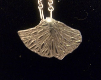 Handcrafted Fine Silver Ginko Leaf Pendant