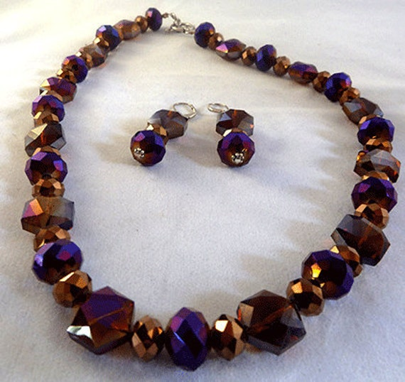 Iridescent purple and brown crystal necklace set