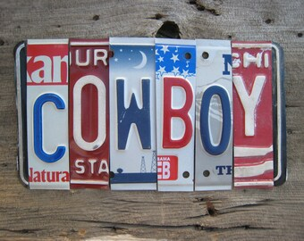 COWBOY OOAK upcycled recycled license plate art sign tomboyART tomboy Texas horse Americana Woody Guthrie Made in America