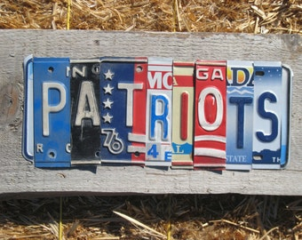 OoAK New England PATRIOTS NFL football sports upcycled recycled license plate art sign tomboyART tomboy superbowl Tom Brady