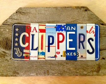 OOAK Los Angeles CLIPPERS basketbal NBA sports upcycled license plate art sign red blue tomboyART tomboy