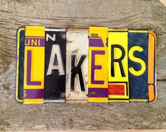 OOAK Los Angeles Lakers basketbal NBA sports upcycled license plate art sign yellow gold purple tomboyART tomboy