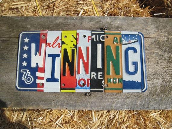 WINNING you're an F-18 bro die hard Charlie Sheen fan license plate art sign mounted on barn wood tomboyART tomboy