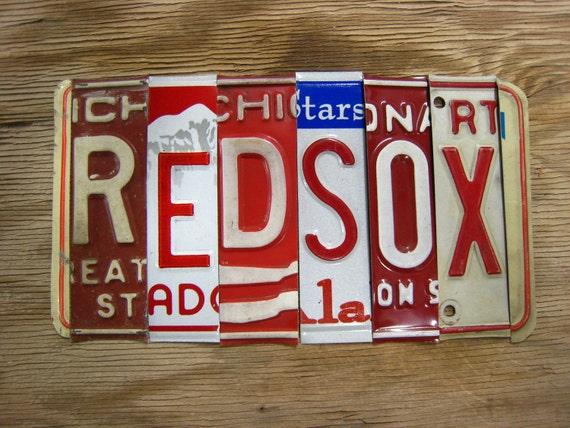 OoAK Boston Red Sox baseball sports upcycled recycled license plate art sign tomboyART tomboy