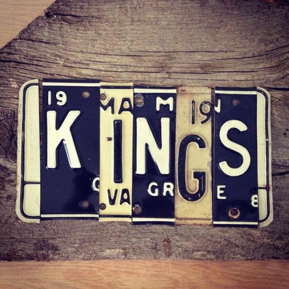 OOAK LA Los Angeles KiNGS NHL hockey Stanley Cup sports upcycled license plate art sign black white tomboyART tomboy
