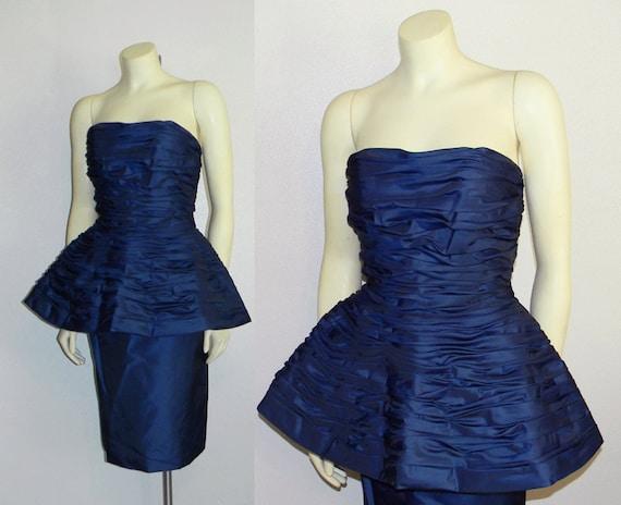 Vintage 1980s Victor Costa Royal Blue Party Dress AVANT GARDE