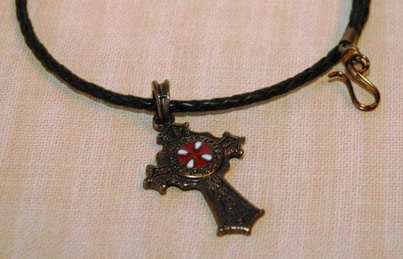 Knights Templar Celtic Cross Pendant on Braided Greek Leather Necklace