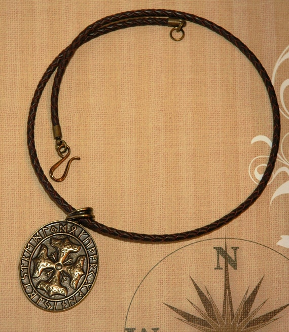 Thor's Cross Pendant on Braided Greek Leather Necklace