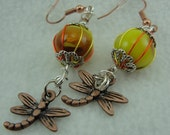 Multi-Colored Earrings with Antique Copper Dragonflies