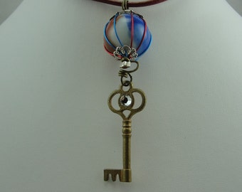 Hand-Crafted Marble Necklace With Key Charm