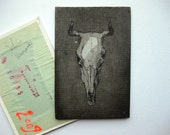 Original miniature painting of cows skull, 5,8x3,9 inch