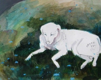 Flower-dog, original painting 8x11