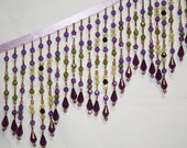 Reserved for Deborah 2 Yards  BEADED FRINGE, 5 Inches Long,  Sage Green, Purple, Gold, Beautiful