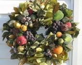 Sugared Fruits and Bows Decorators Holiday Wreath by English Rose