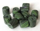 Handmade Beads, Green Marble, Polymer Clay