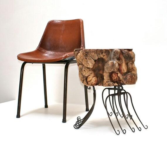 Industrial Burl Side Table