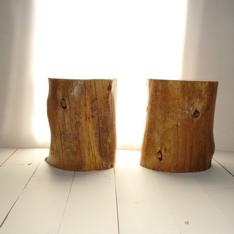 Tree stump side table seat for Wood stump end table