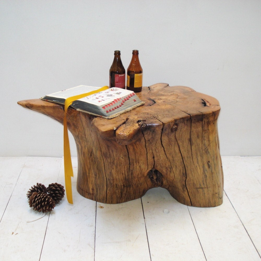 Root End Table: Coffee Table Pecan Root