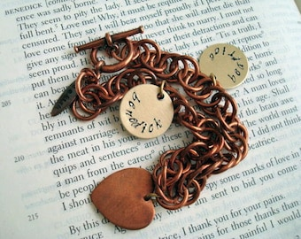 Copper Benedick Loves Beatrice Charm Bracelet