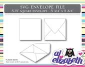 Square Envelope SVG / Cut / Digital / Cricut Cut File w/ 12 Liners