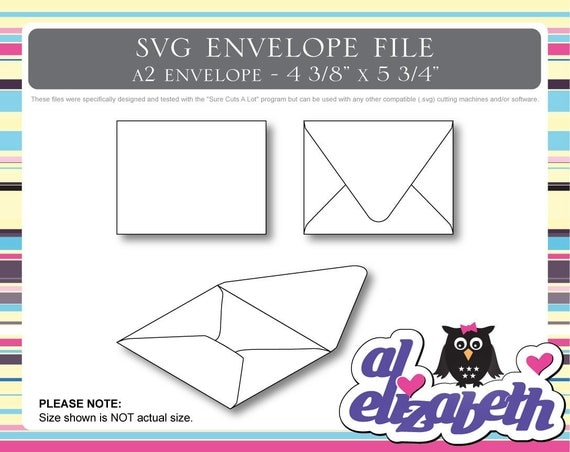 A2 Envelope SVG / Cut / Digital / Cricut Cut File w/ 12 Liners