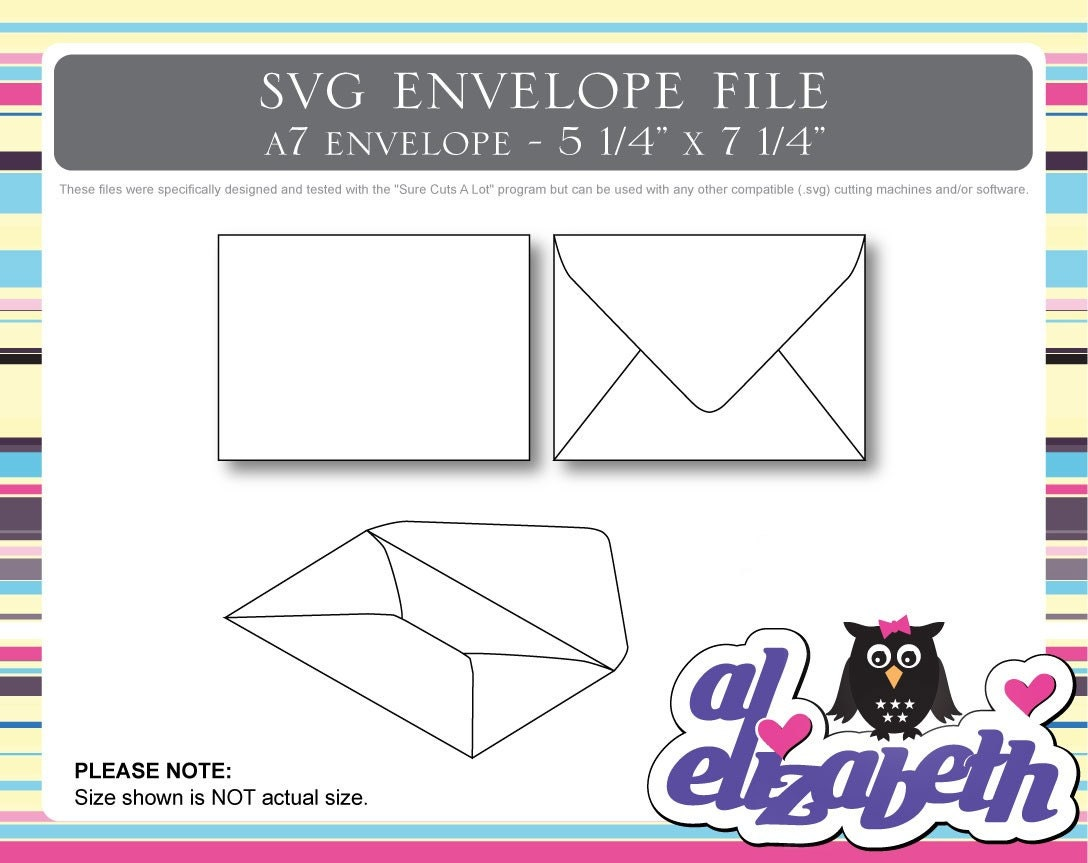 a7 envelope svg cut digital cricut cut file w 12 liners. Black Bedroom Furniture Sets. Home Design Ideas