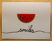 2 Watermelon smile blank cards