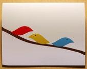 6 Birds on a branch blank cards