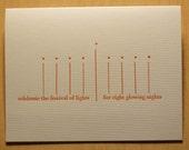 6 Hanukkah Menorah blank cards