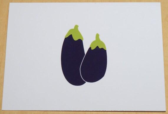 6 Eggplant blank cards