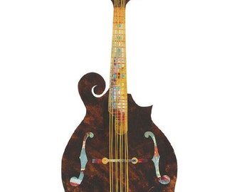 Mandolin, Painted Paper Collage Art Print