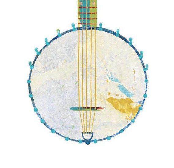 Old Time Banjo, Painted Paper Collage Art Print