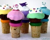 Cupcake wine bottle stopper Made to order
