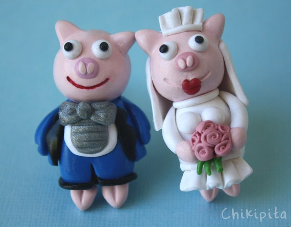 Pig bride and groom Cufflinks Lisa's wedding