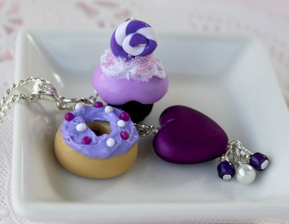 Cupcake doughnut heart necklace purple
