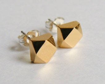 Geometric Gold Stud Earrings - Chunky Faceted Earings - Everyday Jewelry - Faux Diamond Studs - Modern Gold Cubes