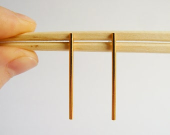 Gold Bar Earrings - Modern Studs - Everyday Long Bars - Dangle Earings - Gold Bars Handmade in Brooklyn - by Hook and Matter