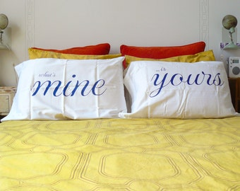 Romantic Yours and Mine White Cotton Pillow Cases - Wedding Gift - His and His - Hers and Hers - Mr. and Mrs.